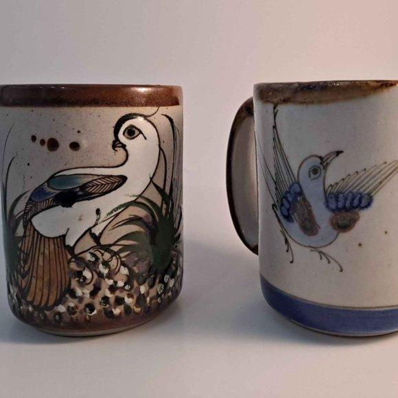 Mexican Pottery Bird Mugs - Pair